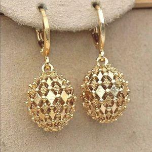 18K Gold Filled Earrings Rhombus Hollow Sphere